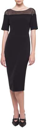 Akris Short-Sleeve Illusion Crepe Dress