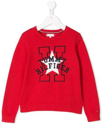 Tommy Hilfiger Junior logo embroidered sweater