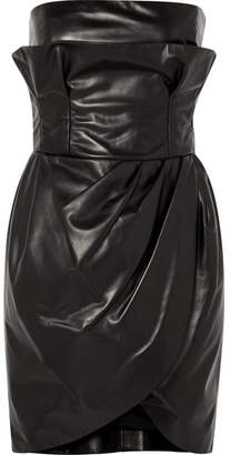 Versace Leather Mini Dress - Black