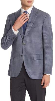 David Donahue Blue\u002FGrey Houndstooth Two Button Notch Lapel Classic Fit Sportcoat