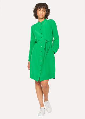 Women's Green Silk Henley Shirt Dress