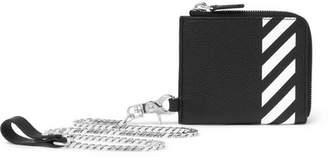 Off-White Striped Pebble-Grain Leather Zip-Around Chain Wallet
