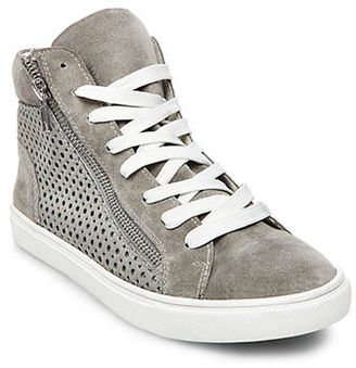 Steve Madden Elyka Leather Side Zipper Perforated Athletic Sneakers $89 thestylecure.com