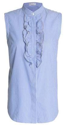 Brunello Cucinelli Crystal-Embellished Ruffled Striped Cotton-Poplin Shirt