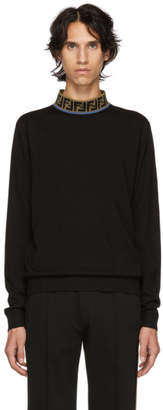 Fendi Navy Forever Mock Neck T-Shirt