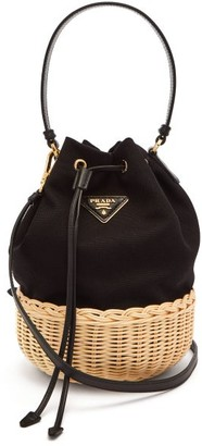 Prada Canvas And Woven Straw Bucket Bag - Womens - Black