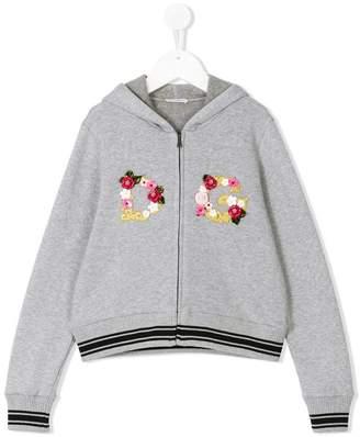 Dolce & Gabbana embellished floral logo zipped hoodie