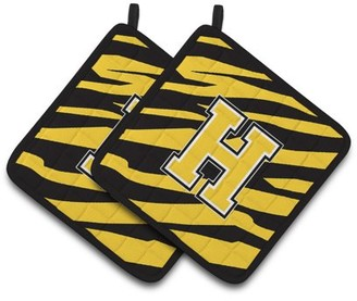Caroline's Treasures Monogram Initial H Tiger Stripe - Black Gold Pair of Pot Holders