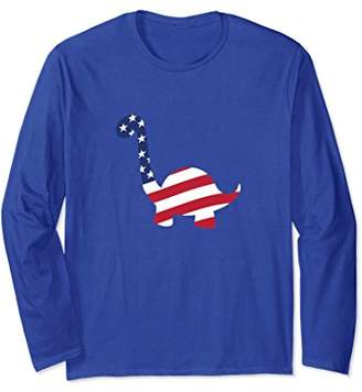 USA Dinosaur American Flag 4th Of July Long Sleeve