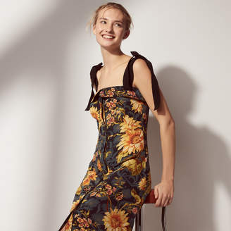 Sandro Long silk dress with floral print