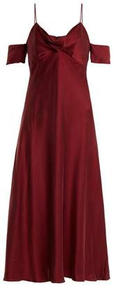 Zimmermann - Draped Cut Out Shoulder Silk Slip Dress - Womens - Burgundy