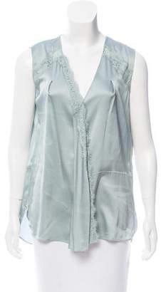 Schumacher Lace-Trimmed Silk Top