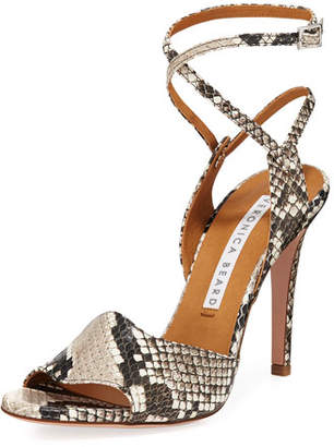 Veronica Beard Suma Python-Print Ankle-Wrap Sandals