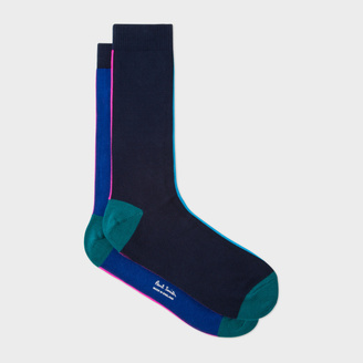 Men's Navy And Royal Blue Vertical Stripe Socks $30 thestylecure.com