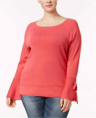 INC International Concepts I.N.C. Plus Size Bell-Sleeve Sweater, Created for Macy's
