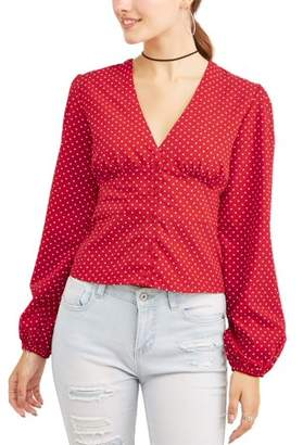 Derek Heart Juniors' Printed Cinched Button Front Woven Long Sleeve Blouse