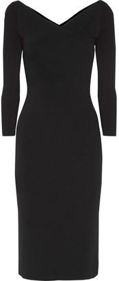 Theory - Daverin Wrap-effect Stretch-knit Dress - Black $425 thestylecure.com