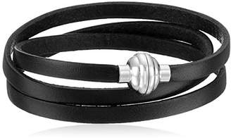 Leather Wrap Stainless Steel Magnetic Clasp Bracelet