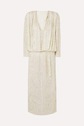 ATTICO Bead-embellished Silk-georgette Maxi Dress - White