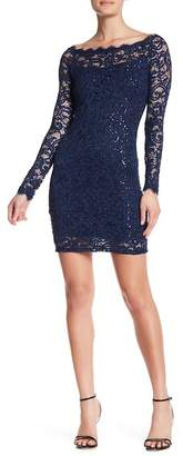 Jump Sequin Lace Long Sleeve Dress