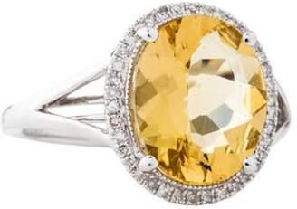 Ring 14K 3.30ct Heliodor & Diamond  14K 3.30ct Heliodor & Diamond