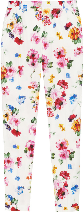 Dolce & Gabbana Floral-print stretch cotton-poplin pants