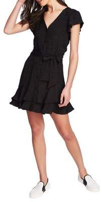 1 STATE 1.State Ruffle Trimmed Button-Front Dress