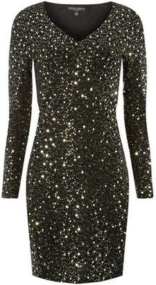 Dorothy Perkins Womens Glitter and Sequin Embellished Shift Dress