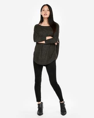 Express Marled Extreme Circle Hem Tunic Sweater