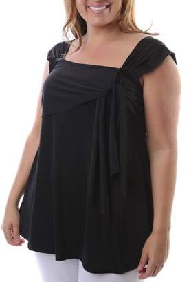 24/7 Comfort Apparel Women's Plus Size Side Tie Tunic Sleeveless Tank Top