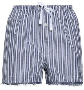 Skin Lace-Trimmed Striped Cotton Pajama Shorts