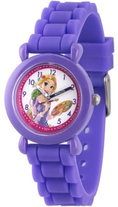 Disney Princess Rapunzel Girls' Purple Plastic Time Teacher Watch, Purple Silicone Strap