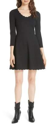 Kate Spade pin dot scallop ponte fit & flare dress