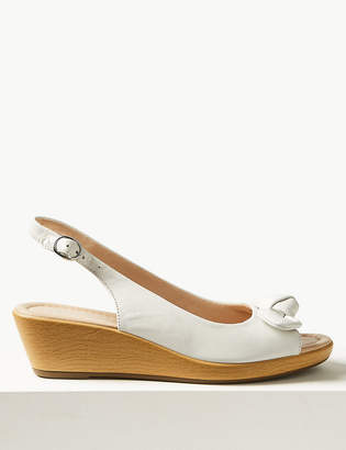 Marks and Spencer Leather Wedge Heel Bow Sandals