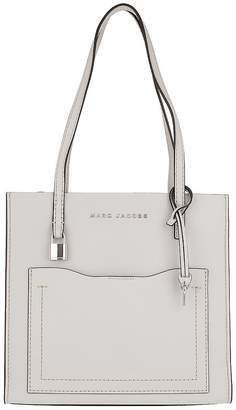 Marc Jacobs Medium Grind T Pocket Tote Bag Leather Ghost Grey