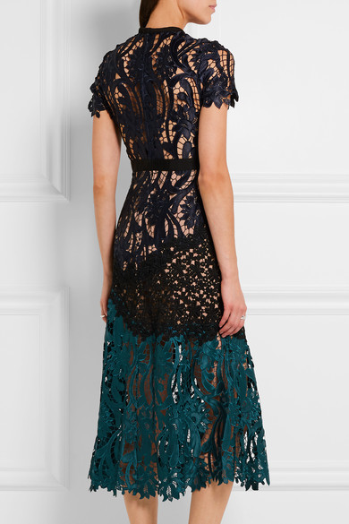 Self-Portrait - Prairie Guipure Lace Midi Dress - Midnight blue 5