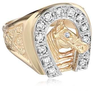 Men's 10k Two-Tone Gold Diamond Horseshoe Ring (0.50 cttw