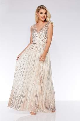 58d376985eb83d Quiz Champagne Woven Sequin Flare Skirt Maxi Dress