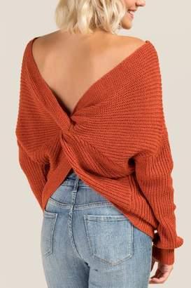 francesca's Karly Open Back Sweater - Cinnamon