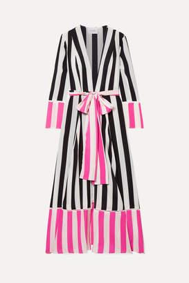 Leone We Are Striped Silk Crepe De Chine Robe