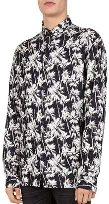 The Kooples Neon Palms Slim Fit Button-Down Shirt