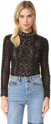 Rebecca Taylor Lace Studded Mock Neck Top $450 thestylecure.com