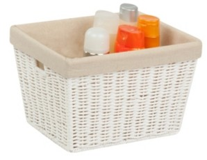 Honey-Can-Do Parchment Cord Tote with Liner, White