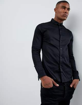 Asos DESIGN skinny fit sateen shirt with turned back placket in black