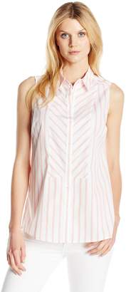 Foxcroft Women's Soft Non Iron Sleeveless Stripe Blouse