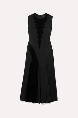 Loewe Velvet-trimmed Silk And Cotton-blend Dress - Black
