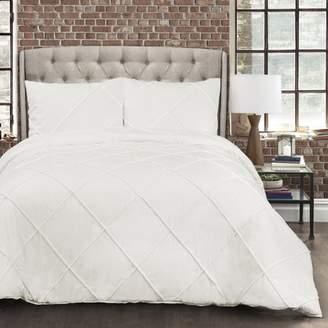 Lush Decor Diamond Pom Pom Comforter White 3Pc Set Full/Queen