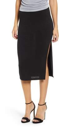 Leith High Slit Marled Midi Skirt