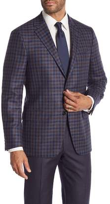 Hickey Freeman Blue Brown Plaid Two Button Notch Lapel Cashmere Classic Fit Sport Coat