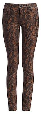 Paige Women's Hoxton High-Rise Snakeskin-Print Coated Skinny Jeans